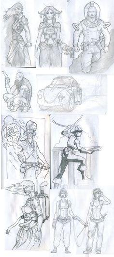 divers personnages d un vieux carnet.