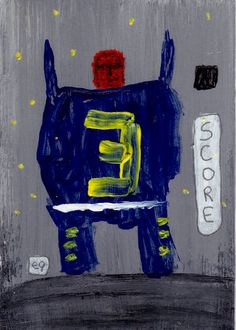 score! e9Art ACEO Sports Football Soccer Outsider Folk Art Brut Painting Abstract Figurative