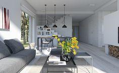Dostępny 4A - wizualizacja 4 - mały dom z garażem jednostanowiskowym i antresolą Home Renovation, Patio, Outdoor Decor, House, Dreams, Design, Home Decor, Home, Blue Prints