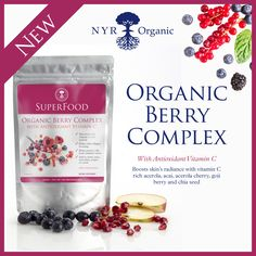 Beauty and Vitality from Within. This Organic Superfood boosts skins radiance with super nutrients, fibre and fatty acids. Its enriched with anti-oxidants, vitamin C, Acai, Goji berries, Acerola Cherry and Chia seed. Just mix 1 scoop with water, juice or a fruit smoothie, or sprinkle over porridge or yoghurt.  No GM Ingredients  Vegan  No preservatives  Certified Organic  Gluten and Lactose free  Dairy Free  Kosher  100g powder  Just click on the image to purchase now