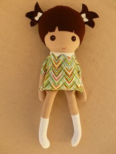 Fabric Doll Rag Doll Brown Haired Girl in Colorful Modern Chevron Dress with White Boots