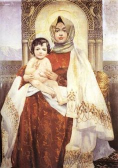 "Vardges Surenyants. ""Madonna with child"".(Armenian Madonna) 1895 ...Վարդգես Սուրենյանց.<<Տիրամայրը մանկան հետ>>1895 թ."
