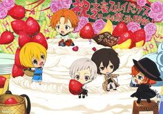 """artbooksnat: """"Bungou Stray Dogs (文豪ストレイドッグス)The little guys of Bungou Stray Dogs are celebrating their second season with a creamy cake in this new poster art by key animator Yukiko Ibe (伊部由起子) from Newtype Magazine (Amazon Japan   eBay)! """""""