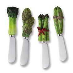 "Veggie Cheese Spreader Set of 4 by Supreme Housewares. $9.99. Handle: Hand painted resin. Dimension: 5"" length. Material: Stainless steel. Includes: 4-Veggie Cheese Spreader. Care and Clean: Hand wash only. These are our best selling items. With so many styles to choose from, who can resist? They are perfect for gift baskets or simply for your own personal use! Select styles are also sold as a set of four.. Save 20%!"
