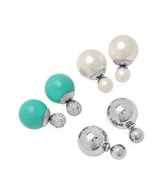 Look at this #zulilyfind! White & Teal Faux Pearl Double-Sided Stud Earrings Set #zulilyfinds