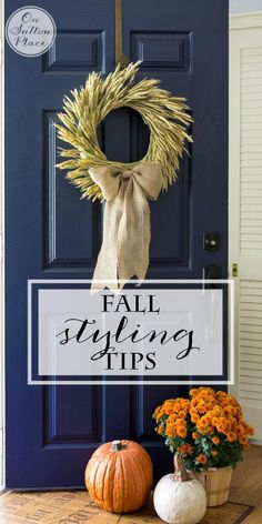 Fall Porch Styling Tips | from On Sutton Place | Easy and budget friendly ways to add a festive touch of Fall to your outdoor spaces. Up your curb appeal by using the colors of the season and repurposing what you already have! #spon