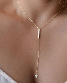 Simply flirty Y gold chain necklace. For the women that like to be flirtious.SF732 by JewerlyConnection on Etsy