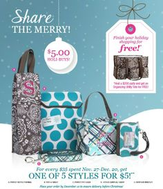Thirty One Holi-Buys are here from November 27-Dec 30.  For every $35 you spend, get a Holi-buy for $5.  Great Christmas gifts!