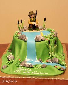 ArtCiacho: Tort z wędkarzem nad wodospadem