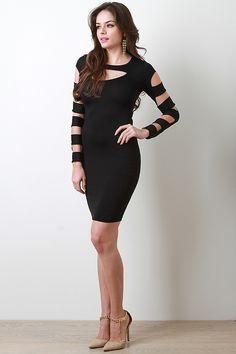 Caged Arm Bodycon Dress