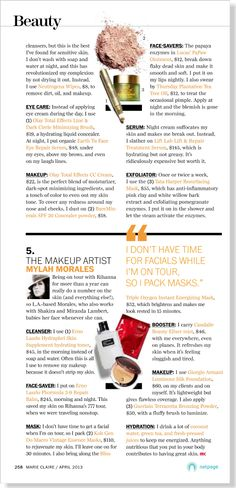 Insider Skin Secrets clipped from Marie Claire using Netpage.