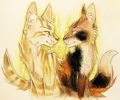 Brackenfur and Sorreltail by Warrior Drawing, Warrior Cat Drawings, Warrior Cats Fan Art, Warrior Cat Memes, Love Warriors, Wolf Love, Comic, Pretty Art, Kitty Cats
