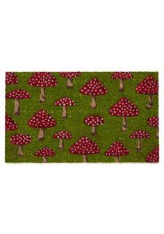 Fungi Fresh Doormat - Green, Mushrooms, Vintage Inspired, 60s, 70s, Dorm Decor