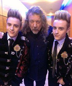 Robert Plant backstage tonight with Irish reality show twin pop sensation Jedward Nov. 10, 2013
