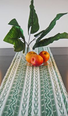 Table Runner  White and Green Ikat Cotton by PrivateLabelBoutique, $15.00