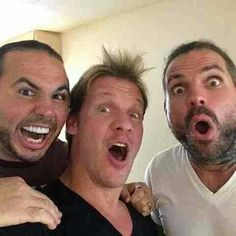 Matt Hardy, Chris Jericho and Jeff Hardy. The Hardy Boyz, Jeff Hardy, Wrestling Rules, Wwe Tna, Brothers In Arms, Chris Jericho, Wwe Wrestlers, Professional Wrestling, Roman Reigns