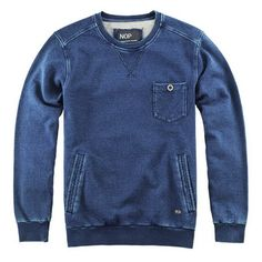 Mens round neck sweater in navy cotton denim
