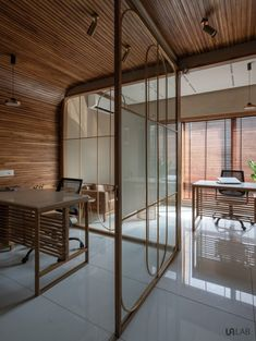 Dynamic Office Space Creates An Ambience Through Delusions | UA Lab - The Architects Diary Reflection And Refraction, Refraction Of Light, Open Office Design, Small Office, Commercial Architecture, Open Plan, Steel Frame, Ua, Office Decor
