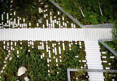 06_NEO_Bankside-COPYRIGHT-GILLESPIES « Landscape Architecture Works | Landezine Sinalização horizontal...evita placas.Solução a ser contemplada mais frequentemente...
