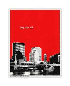 Dayton Ohio Art Print - World Traveler Series Pop Art  Skyline Poster - Available in 56 Colors - UOH031 on Etsy
