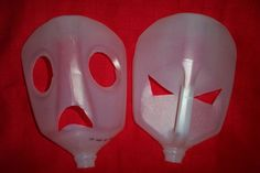 Milk carton bases for paper machie masks