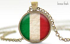 Italian Flag Necklace Italy Jewelry Flag of Italy by FrenchHoney