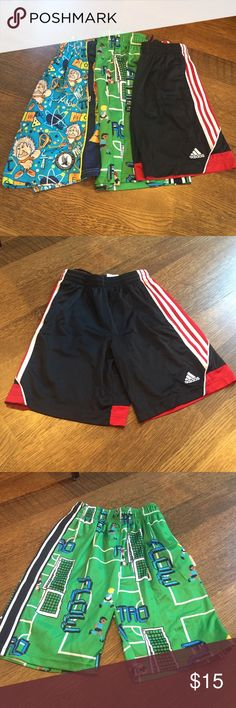 Boy's shorts Blue Flow Society lax shorts Med, black and red Adidas shorts size Med, green Flow Society shorts Med. Worn and in good condition. Bottoms Shorts