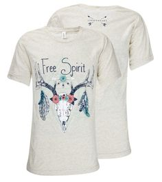 Southern Couture Lightheart Free Spirit Deer Skull Feathers Triblend Front Print Girlie Bright T Shirt