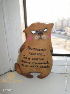Ароматные кофейные кошаки, сделаны с жуткой любовью и в позитивном настроении! Рост у моих любимцев 14 см. Каждый раз смотрю на них - и расплываюсь в улыбке!)) фото 3