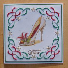"""carte féminine brodée """"Joyeuses Fêtes"""" verte et rouge escarpins talons hauts couleur noël : Cartes par cdine08"""