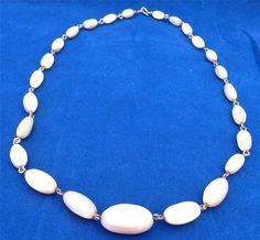 Antique Edwardian Mother of Pearl Beads Necklace on Gold Coloured Wire 19 inches