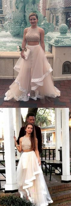 2 pieces prom dress long, beaded long prom dress, long crew prom dress