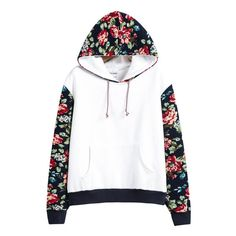 SheIn(sheinside) White Hooded Contrast Floral Loose Sweatshirt (540 CZK) ❤ liked on Polyvore featuring tops, hoodies, sweaters, jackets, shirts, white, loose long sleeve shirt, cotton pullovers, long sleeve tops and long-sleeve shirt
