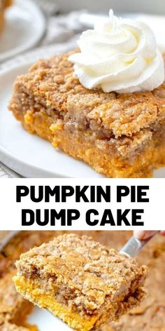 Pumpkin Pie Dump Cake gets it's name by dumping the ingredients into the baking dish. It is like a pumpkin pie and a spice cake all in one! Dessert Cake Recipes, Homemade Cake Recipes, Sweets Recipes, Sweet Desserts, Just Desserts, Baking Recipes, Delicious Desserts, Pumpkin Deserts, Yummy Recipes