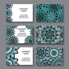 Foto de archivo - Conjunto de tarjetas vintage. Mandala ornamental, elementos decorativos del círculo floral. Árabe, indio, turco, pakistán, otomano, motivos. Plantilla de diseño de vector de tarjeta de visita.