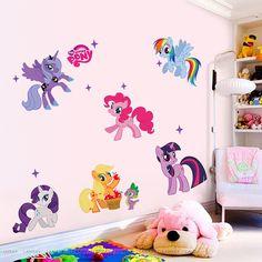 Nueva llegada Kid Pegatinas de Pared My Little Pony 6 ponis eliminación de etiqueta de la pared sticker niñas para niños sala de ventas de la fábrica directamente
