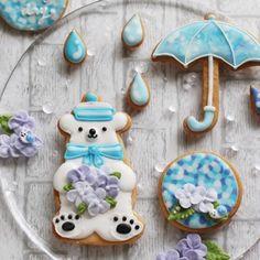 6月アイシングクッキーレッスンのデザインです✨ #シロクマ#アイシングクッキー#レッスン#decoratedcookies #cute #紫陽花#雨#傘#icingcookies #acorne