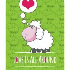 Vector de tarjeta con oveja de dibujo animado lindo