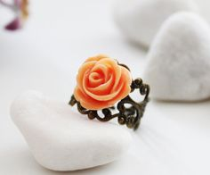 Apricot Rose on  Vintage Filigree Ring RG31 by PolliniAtelier, $11.00
