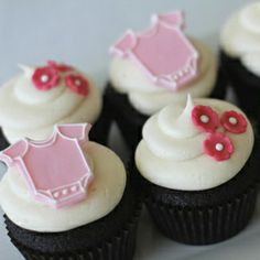 Pink Onesie Baby Shower Cupcakes