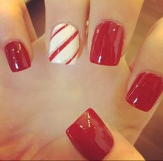 Christmas nails shinny, red, white and silver.