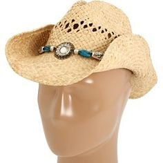58% Off was $29.99, now is $12.50! Blazin Roxx Women's Faux Turquoise Stone Bling Raffia Straw Cowgirl Hat