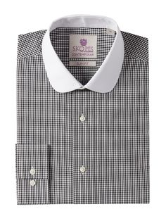 1920s round collar vintage inspired mens shirt. Mens Skopes Check Slim Fit Round Collar Formal Shirt $19.00 AT vintagedancer.com