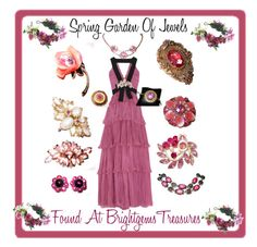 Spring Garden Of jewels by brightgems on EtsyPolyvore featuring Gucci and Rock 'N Rose Pink Flower and designer jewelry in my Etsy shop