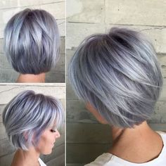 70 Overwhelming Ideas for Short Choppy Haircuts Short Layered Pastel Purple Bob Short Grey Hair, Short Hair Cuts, Short Silver Hair, Color For Short Hair, Grey Hair Over 50, Silver Hair Dye, Silver Ombre, Grey Ombre, Chopped Haircut