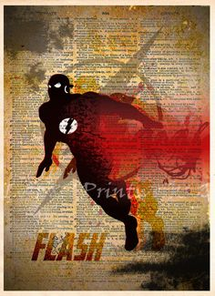 The Flash art, The Flash poster, Vintage Silhouette print, Retro Super Hero Art, Dictionary print art