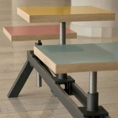YONDER MAGNETIK - POYKE is a work stool and a three seated bench, a hybrid with adjustable seat position and height.