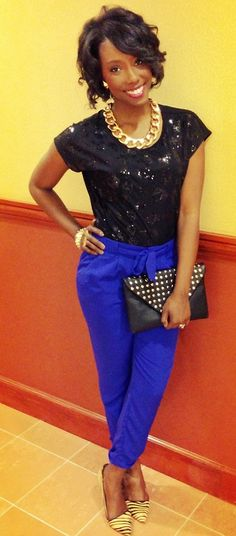 Killing it with electric blue trouser pants with some tiger print pumps! #killingIt