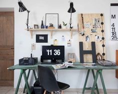 Converted Bedroom | Green Desk | Eames Plastic Chair | Sawhorse Desk | Home Office | Workspace Ideas | Interior Design