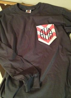 Monogrammed initials on chevron pocket on brown t shirt... CUTE